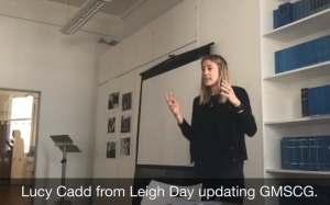 Lucy Cadd from Leigh Day at the March 2018 GMSCG.